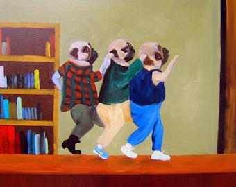 "Pug Art Print of an original oil painting/ ""The Breakfast Club""/ Two Print set /Dog art/each 8x10"