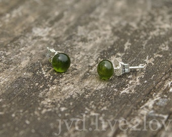 recycled olive green glass studs