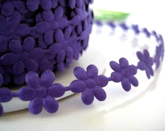 "Purple Flower Ribbon for Crafting, Girl Dresses, Sewing, Doll Clothes, Embellishment, Gift Boxes, Invitation Cards - 1/2"" (13 mm) Wide"