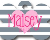 Custom Pet Tag - Striped Pet ID Tag - Heart Pet ID Tag - Personalized Pet Tag - Personalized Pet ID Tag