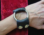Heavy Metal Punk Rock Black Leather Cuff with Side Snap