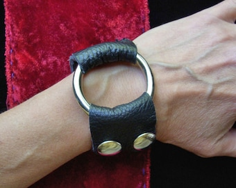 Punk Cuff / Black Leather Cuff / Black Metal Cuff / Handmade Cuff / Leather Jewelry