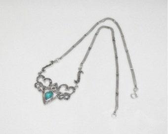 Blue Topaz Necklace - Marcasites - Sterling Silver - Vintage