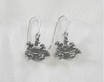 Noah's Ark Earrings - Solid Sterling Silver - Vintage