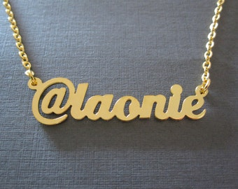Personalized Gold Twitter Name Necklace