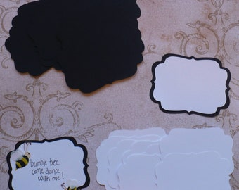 2 size Die cut Shapes 4 Layering Black White colors Cardstock 4 Wedding Tags Place card Label Brackets