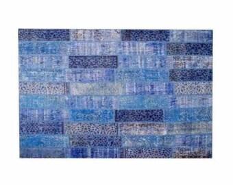 Patchwork rug Blue 116