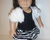 Doll Clothes White Fur Bolero Zebra Ruffle Skirt Leggings and Top 18 Inch Doll Clothes
