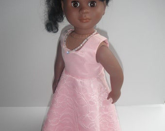 18 Inch Doll Clothes Pink Glittering Lace GOWN Elegant Fits Most 18 Inch Dolls American Handmade