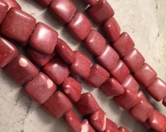 Exclusive Minnesota Pipestone 10mm x 10mm Beads (Catlinite)