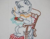 Vintage Hand Embroidered Cat Flour Sack Dish Towels