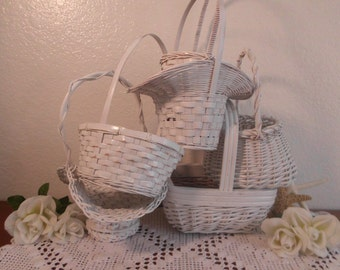 Wedding Flower Girl Basket White Shabby Chic Rustic Distressed Easter Centerpiece Cottage Home Decor Decoration Spring Summer Gift for Her