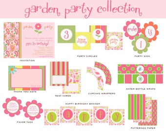 GARDEN PARTY BIRTHDAY Full Collection - Custom Printable