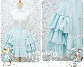 Turquoise Circle Lolita Three Layers Ruffle Skirt With Elastic Waist