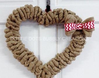 Burlap Chevron Heart Mesh Wreath