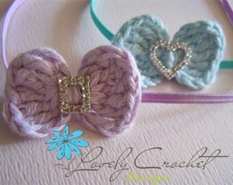 Newborn Baby Girl Prop: Crochet Baby Bow with Sparkling Diamond Rhinestone with Skinny Headband-all sizes available. Baby Headband