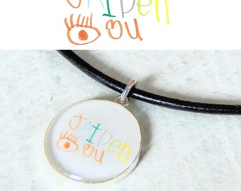 Child's Handwriting - Child's Artwork - Custom Necklace - Custom Photo - Gift for Dad - Father's Day - Daddy Necklace - Men's Necklace