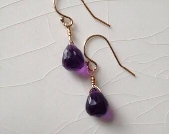 Purple Amethyst Pear/Briolette Drop Earrings & Gold Filled Dangle Earrings
