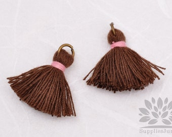 T002-CO-DBP// Dark Brown, Pastel Pink Cotton Tassel Pendant, 4pcs, 23mm
