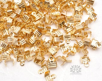 B001-G// Gold Plated 5mm Fold Over Crimp End Finding, 20 pcs