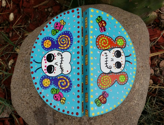 Day Of The Dead Hand Painted wooden jewelry box FREE SHIPPING