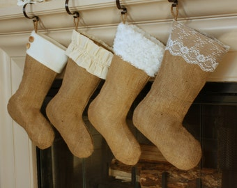 CHOOSE TWO (2) The Classic Cream Line-  Burlap Stockings, Christmas Burlap Stockings