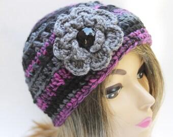 Ladies Hat  with large flower Black Gray Fuchsia  23inches chunky yarn Crochet women