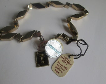 Vintage Monet Goldtone Necklace Choker Modern Heavy Cube Bambergers Rare With All Tags!