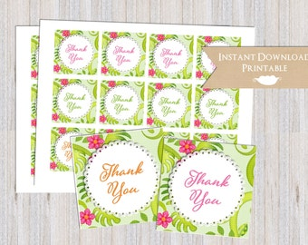 Tropical Hawaiian Hula Printable Thank You Favor Tags for Baby Shower, Birthday Party INSTANT DOWNLOAD