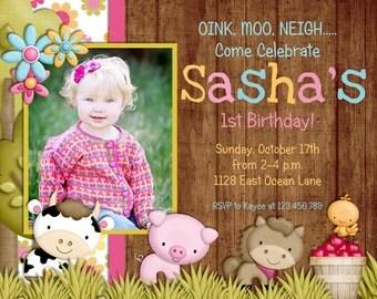 Farm First Birthday Party Invitation, Girl Farm Birthday Invitation, Farm Animals Printable Invite