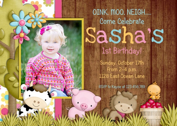 Farm First Birthday Party Invitation, Girl Farm Birthday Invitation, Farm Animals Printable Invite