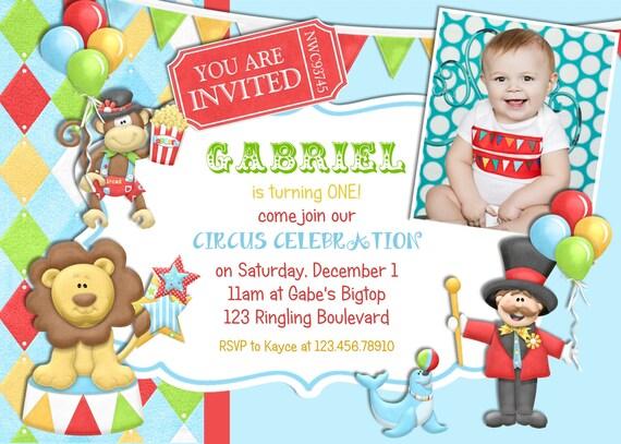 Blue Circus Boy Birthday Invitation