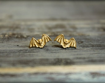 Little Bat Earring Studs in Raw Brass, Stainless Steel Posts