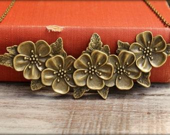 Flower Bib Necklace in Aged Brass