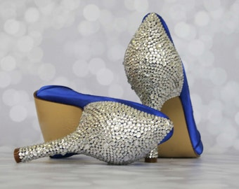 Wedding Shoes -- Royal Blue Peep Toe Wedding Shoes with Multi-Sized Silver Rhinestone Heel and Heel Cup
