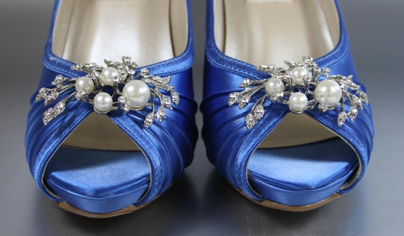 sample sale wedding shoes cobalt blue platform peep toe wedding shoes wth pearl and