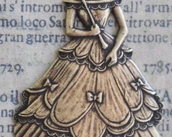 Victorian Lady with parasol brass stamping, Brass Ox