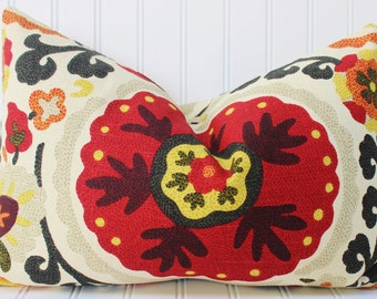 Red Pillow - Throw Pillow -Decorative Pillow -Cushion Cover - Red Suzani Floral Pillow Cover