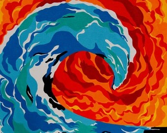 Wave, Red and blue, ocean, sunset, water, curling wave, colorful art, shapes, beach art, beach house decor, surfing art hot and cold acrylic