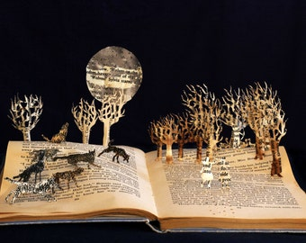 Wolves of Willoughby Chase - 5x7 greeting card of an altered book sculpture