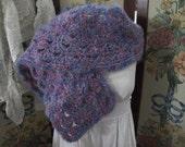 SALE  OOAK Blue and Plum Ladies Winter Wrap, Handmade crochet Womens Shawl, ECS,