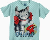 Girls Kitty Shirt, Personalized Cat Birthday T-Shirt, Aqua Red Kitten Number Top, Children's Clothing