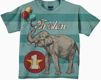 Circus Elephant Shirt,  Personalized Carnival Birthday T-Shirt, Boy's Circus Birthday Shirt, Childrens Clothing