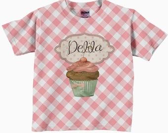 Cupcake Shirt, Girls Personalized Cupcake Birthday T-Shirt, Pink Gingham Shirt, Childrens Clothing