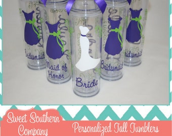 3 Personalized Bride and Bridesmaids Acrylic Tumblers