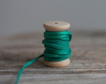 Metallic Faux Suede Cord in Green - 3mm x 1mm - 5 meters