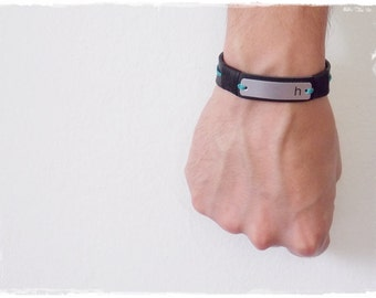 Couple's Bracelet, Personalized Leather Bracelet, Custom Name Bracelet, Leather Men's Bracelet, Greek Leather Bracelet, Best Friend Bracelet