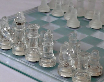 Vintage Chess Set in Original Box with a Glass Board Looks Amazing Never Been Used -  Excellent Condition Great Gift