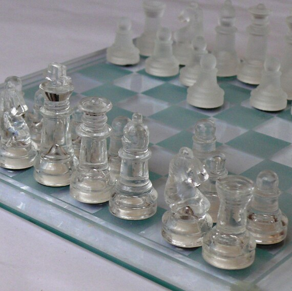 Vintage Chess Set In Original Box With A Glass Board Looks