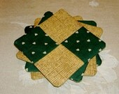 Patchwork Fabric Coaster Set of 4 Green and Burlap look